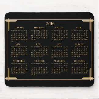 Cojín 2016 de ratón negro del calendario del art mousepads