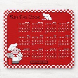 Cojín-Beso del ratón de 2014 calendarios el cocine Tapetes De Ratón