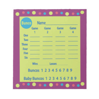 cojín de la cuenta del bunco o tarjeta de la bloc de notas