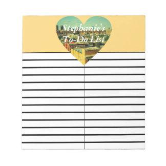 Cojín de la lista del lío/de compras del corazón libretas para notas