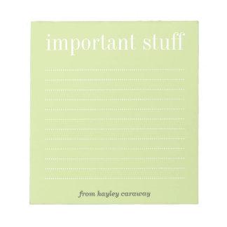 Cojín de nota alineado verde importante del té de  bloc de notas