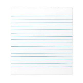 Cojín de nota con las líneas obra clásica alineada bloc de notas
