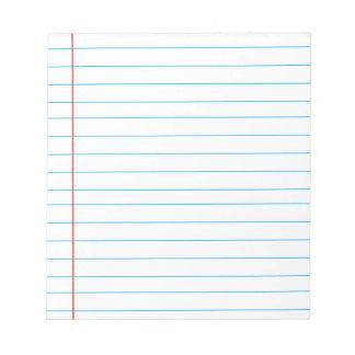 Cojín de nota con las líneas regla alineada roja bloc de notas