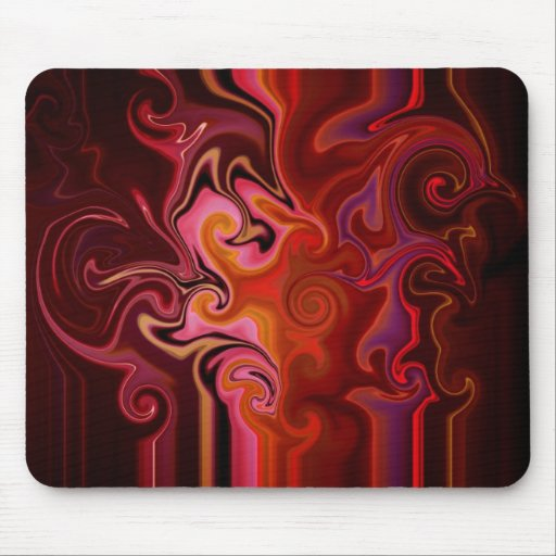 Cojín de ratón abstracto del fractal en rojo, rosa tapete de ratón