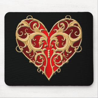 Cojín de ratón afiligranado rojo del corazón alfombrilla de ratón
