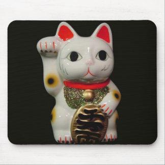 Cojín de ratón afortunado japonés del gato MANEKI Tapete De Ratón