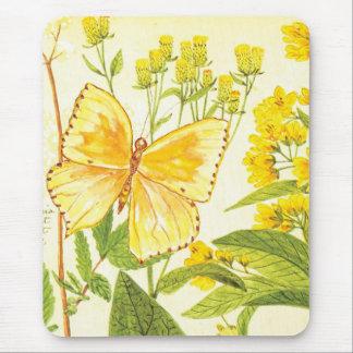Cojín de ratón amarillo botánico del vintage tapete de raton
