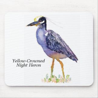 Cojín de ratón Amarillo-Coronado de la garza de no Mousepad