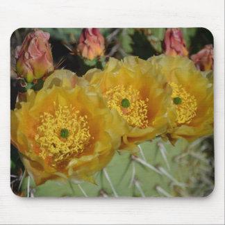 Cojín de ratón amarillo de tres flores del cactus alfombrilla de raton