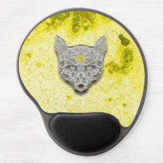 Cojín de ratón amarillo del gel del cráneo del alfombrillas con gel