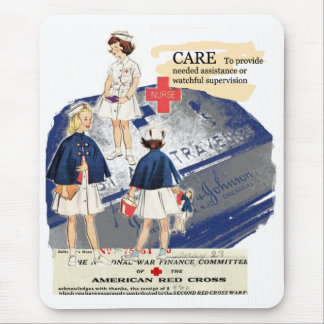 Cojín de ratón americano de la Cruz Roja del vinta Alfombrillas De Ratón