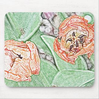 Cojín de ratón anaranjado de dos tulipanes alfombrillas de ratón