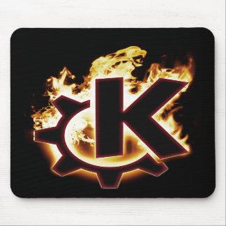 Cojín de ratón ardiendo del icono de KDE Linux Tapetes De Ratones