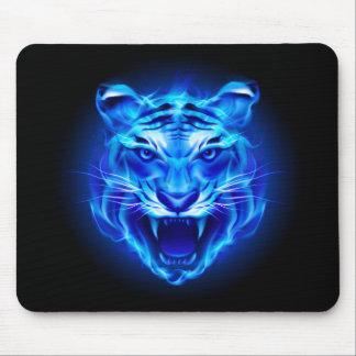 Cojín de ratón azul de la cara del tigre del fuego alfombrilla de raton
