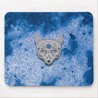 Cojín de ratón azul del cráneo del azúcar del lobo mouse pad