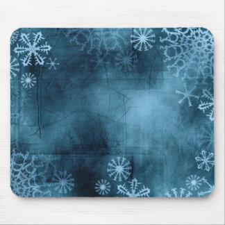 Cojín de ratón azul del Grunge del copo de nieve Alfombrilla De Ratón