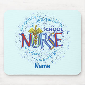 Cojín de ratón azul del lema de la enfermera de la alfombrilla de ratones