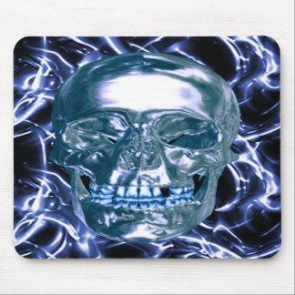 Cojín de ratón azul eléctrico del cráneo del cromo alfombrillas de raton