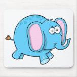 Cojín de ratón azul insano loco del elefante tapetes de raton