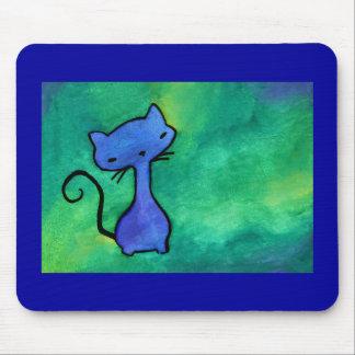 Cojín de ratón azul lindo del gato del gatito tapetes de raton