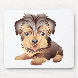 Cojín de ratón blanco del perro de perrito de tapetes de raton