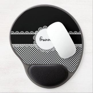 Cojín de ratón blanco y negro del gel del monogram