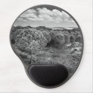 Cojín de ratón blanco y negro del paisaje de la alfombrilla con gel