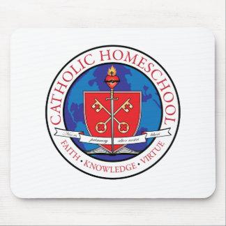 Cojín de ratón católico del escudo de Homeschool Tapetes De Raton