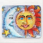 Cojín de ratón celestial de Sun y de la luna Alfombrillas De Raton