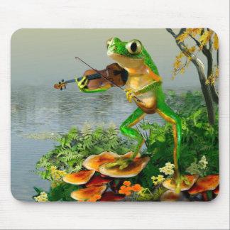 Cojín de ratón chistoso con el violín que juega la alfombrillas de ratones