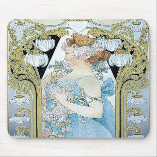 Cojín de ratón clásico de Nouveau del arte Alfombrilla De Ratón