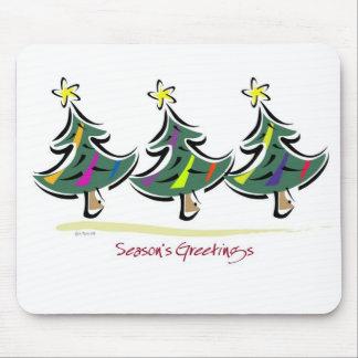 Cojín de ratón colorido de tres árboles de navidad tapete de ratón