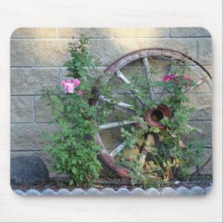 Cojín de ratón con la foto de la rueda de carro y  tapetes de ratones