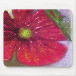 Cojín de ratón con una flor roja pintada tapete de ratón