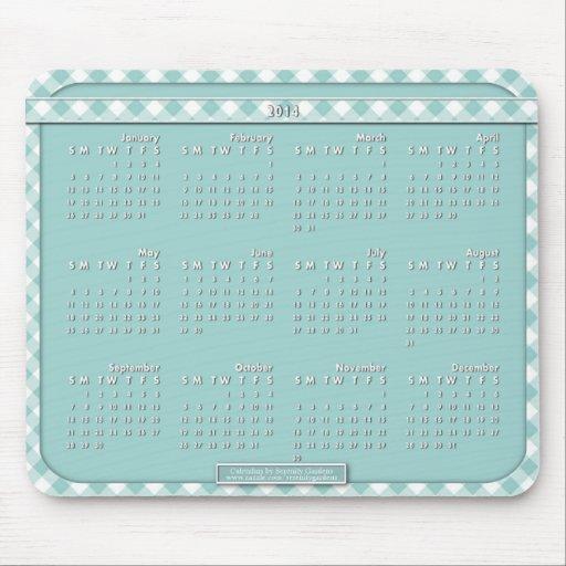 Cojín de ratón de 2014 calendarios - azul de Chex Alfombrilla De Ratones