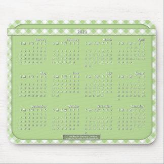 Cojín de ratón de 2014 calendarios - verde de Chex Alfombrillas De Raton
