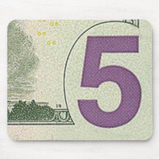 Cojín de ratón de 5 billetes de dólar alfombrillas de raton