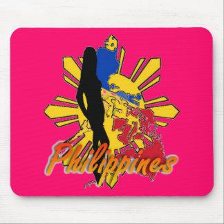 Cojín de ratón de Filipinas W/Girl - rosa Alfombrillas De Ratones
