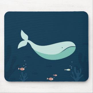 Cojín de ratón de la ballena azul de océano mouse pad