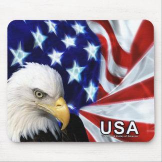 Cojín de ratón de la bandera de Eagle calvo los E. Tapete De Ratones