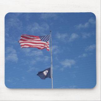 Cojín de ratón de la bandera de los E.E.U.U./del V Tapetes De Ratón