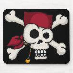 Cojín de ratón de la bandera pirata del cráneo N Tapete De Ratón