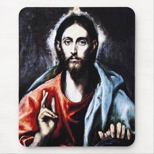 Cojín de ratón de la bendición de El Greco Cristo Tapetes De Ratón