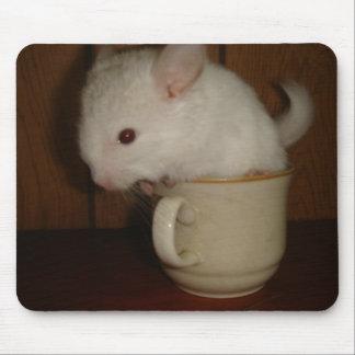 Cojín de ratón de la chinchilla de la taza de té mousepad