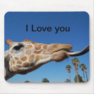 Cojín de ratón de la jirafa te amo mousepad