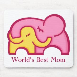 Cojín de ratón de la mamá del mundo del elefante y tapetes de ratones
