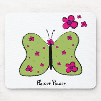 Cojín de ratón de la mariposa del flower power alfombrilla de ratón