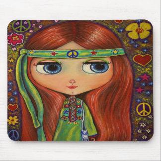 Cojín de ratón de la muñeca del Hippie de la paz Tapetes De Raton