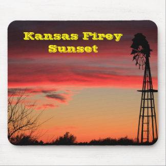 Cojín de ratón de la puesta del sol de Kansas Alfombrilla De Raton