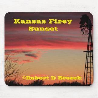 Cojín de ratón de la puesta del sol de Kansas Tapetes De Raton